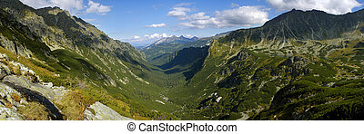 Panorama of valley Roztoki in Tatra Mountains Poland In the...