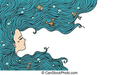 Girl with blue hair. Vector illustration. Woman portrait.