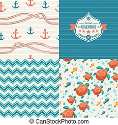 Seamless patterns of marine symbols and label in vintage style.