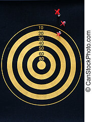 Darts - a miss - off mark on a darts board