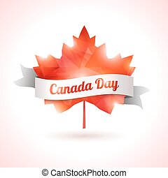 Canada day, vector illustration. - Maple leaf with white...