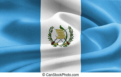 flag of Guatemala waving in the wind. Silk texture pattern