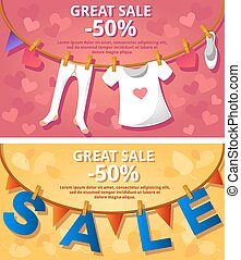 Sale banners Garlands Vector illustration Banners Posters...