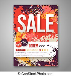 Vector Sale Poster Template with Watercolor Paint Splash.