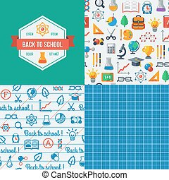 Back to school seamless patterns - School Label Vector...