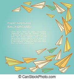 Frame design with paper planes.. Vector illustration. Back...