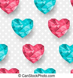Chic vector seamless patterns tiling. Polygonal hearts