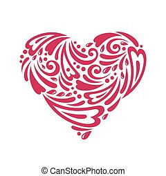 Figured heart - Vector illustration Doodles and curls Happy...