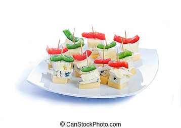 Cheese snacks with three kinds of cheese and pieces of...