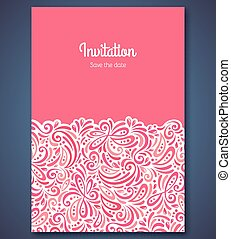 Wedding invitation card template with abstract pattern...
