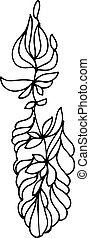 sketch of a vegetative ornament - black and white sketch of...