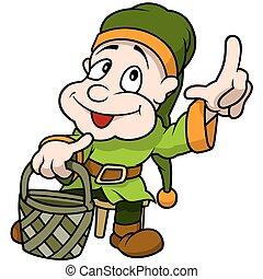 Green Elf Holding Basket