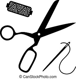 sewing kit - Black silhouettes of scissors, reel and needle