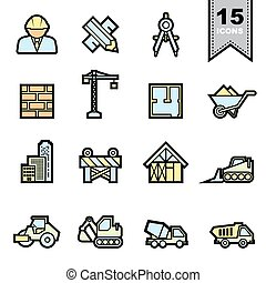 Construction icons set Illustration eps 10
