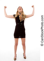 full body of happy model with raised hands on an isolated...