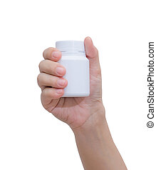 Pill bottle on hand isolated on white background