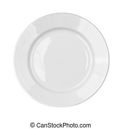 Empty white dish plate isolated with clipping path included
