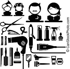 Hair styling icons set - Hair styling silhouette icons set