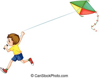 Boy and kite - Illustration of a boy playing kite