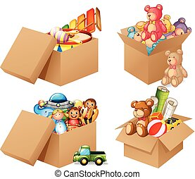 Toys - Illustration of four different box of toys