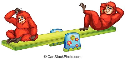 Orangutan - Illustration of orangutans playing