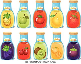 Juice - Illustration of many bottle of juice