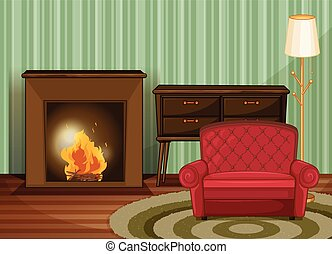 Living room - Illustration of a living room with fireplace