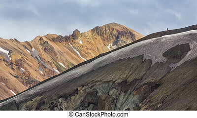 Couple along the ridge in Landmannalaugar lava landscape -...