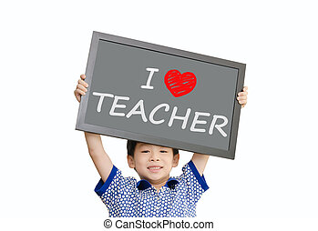 Little Asian boy holding chalkboard with message quot;I love...