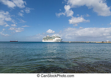 Cruise Ship at End of Pier in Calm Bay - White Luxury Cruise...