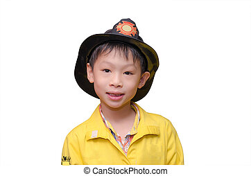 little Asian boy in firefighter uniform, isolated on white