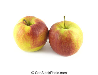 Ripe apples isolated close up
