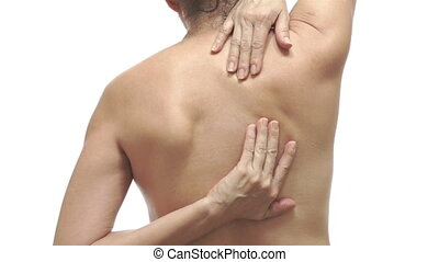 Woman With Back Pain Color - Shot of the back of a middle...