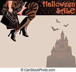 Halloween sale shopping card, vector illustration