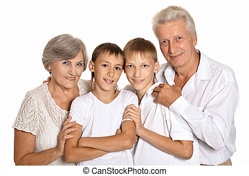 Grandsons with grandparents on a white background