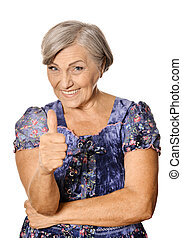 Beautiful old woman showing thumbs up on a white background