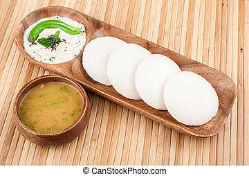 Idly with Chutney Sambar - A traditional ethnic south Indian...