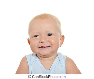 Cute blond baby boy looking away on a white background