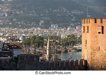 Kizil Kule or Red Tower in Alanya, Antalya, Turkey