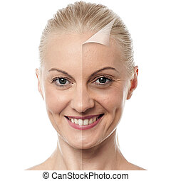 Beautiful woman changing skin, beauty concept - Face of...