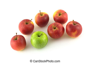 Seven ripe red and green apples - Seven ripe apples, six red...