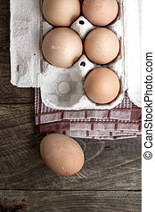organic eggs - Farm Fresh Brown Chicken Hen Eggs on Rustic...