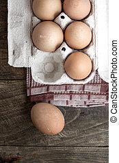 organic eggs - Farm Fresh Brown Chicken Hen Eggs on Rustic...