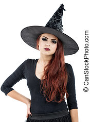 pretty young redhead witch, isolated against white...