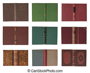 Collection of book covers with spine isolated on a white...