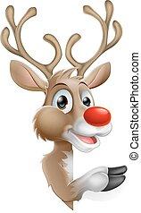 Karikatúra, karácsony, rénszarvas,