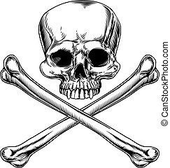Skull and crossbones illustration in a vintage woodcut style