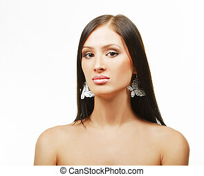 Beauty portrait of a well-groomed young woman with beautiful...