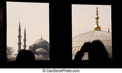 Blue mosque seen trough a window - Blue mosque trough a...