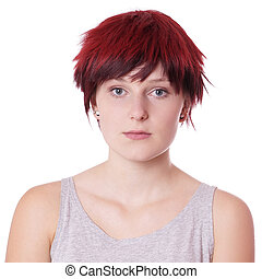 young woman with short red hair
